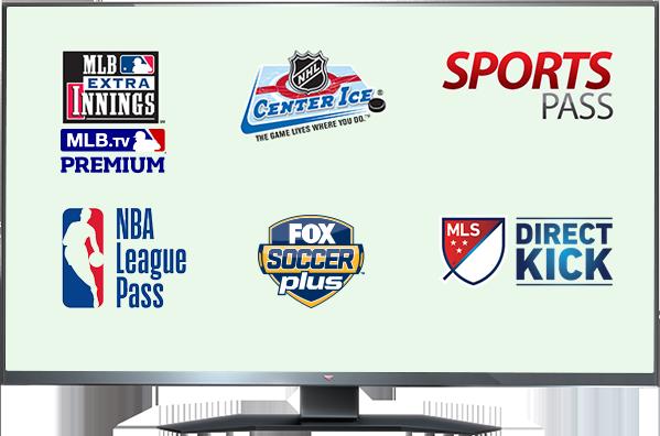 MLB EXTRA INNINGS, Center Ice, Sports Pass, NBA League Pass, Fox Soccer y MLS DIRECT KICK