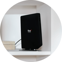 Photo of a Fios router on a shelf